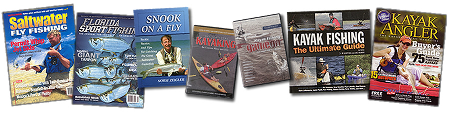Fishing and kayaking magazines, books, and DVDs featuring Greg Bowdish.
