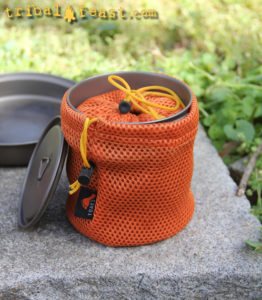 The TOAKS 450ml Titanium Camping Cup nests perfectly inside the TOAKS 750 ml Titanium Pot.