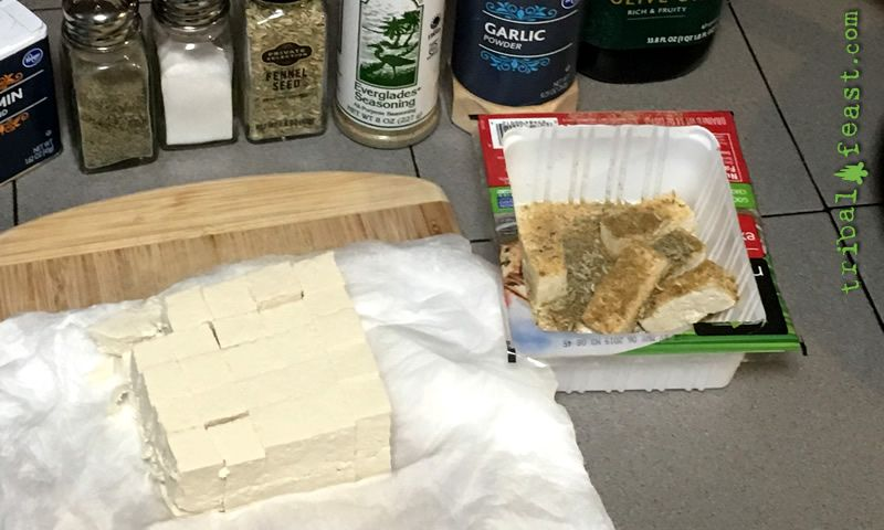 The package the tofu came in makes a great container to dust the tofu with the seasonings and spices of your choice.