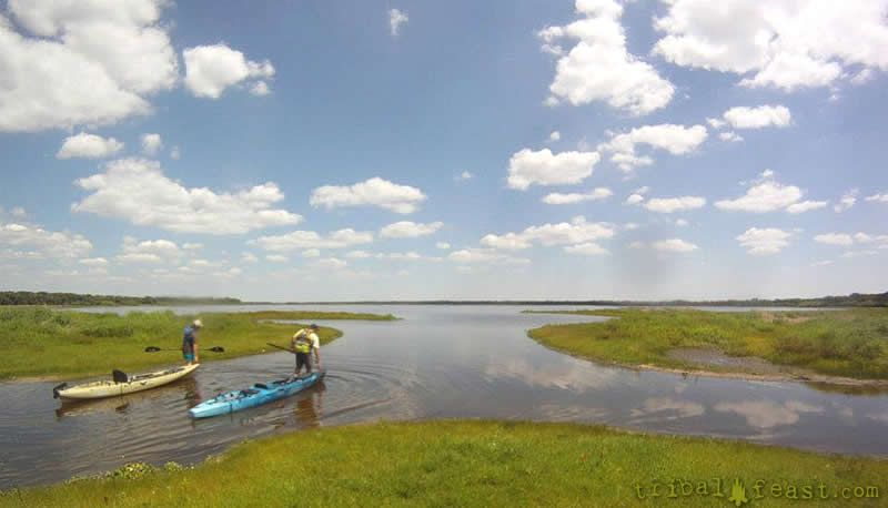 Kayaking the shallow waters of Lower Myakka Lake occasionally requires dragging the kayak across sand and mud.