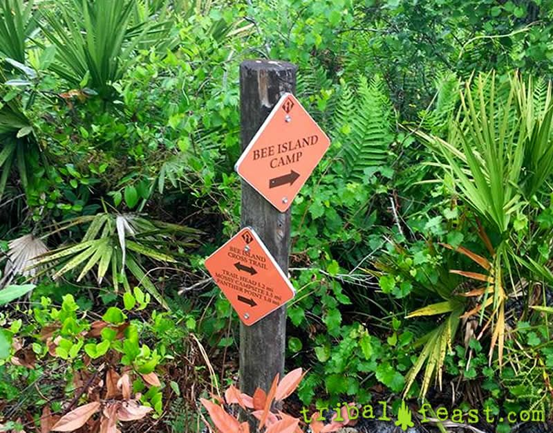 Signage on the hiking trails of Myakka River State Park.