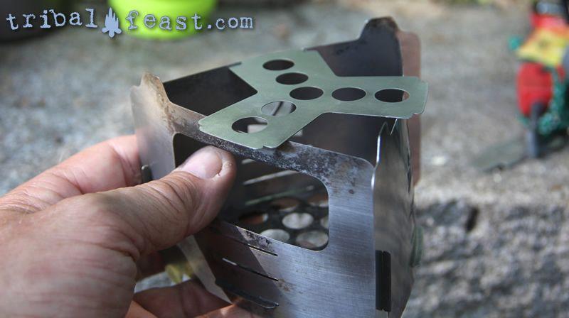 Assembling the Bushbox Ultralight Pocket Stove: attaching the trivet.