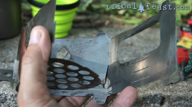 Assembling the Bushbox Ultralight Pocket Stove: adding the third side plate.