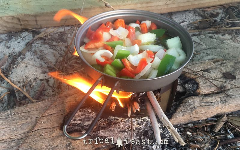 Frying up veggies on a Bushbox Ultralight twig stove.