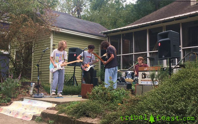 The band Nuclear Tourism plays to the neighborhood at Athens Porchfest.